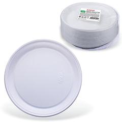 """Одноразовые тарелки десертные, КОМПЛЕКТ 100 шт., пластик, d=170 мм, """"СТАНДАРТ"""", белые, ПП, холодное/горячее, ЛАЙМА"""