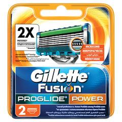 """Сменные кассеты для бритья 2 шт., GILLETTE (Жиллет) """"Fusion ProGlide Power"""", для мужчин"""