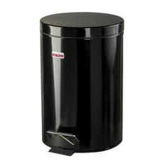 """Ведро-контейнер для мусора (урна) с педалью ЛАЙМА """"Classic"""", 12 л, черное, глянцевое, металл, со съемным внутренним ведром"""