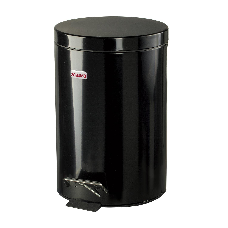 """Ведро-контейнер для мусора (урна) с педалью LAIMA """"Classic"""", 12 л, черное, глянцевое, металл, со съемным внутренним ведром, 602850"""