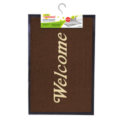 """Коврик входной ворсовый влаго-грязезащитный ЛАЙМА/ЛЮБАША, 60х90 см, толщина 7 мм, коричневый, """"Добро пожаловать"""""""