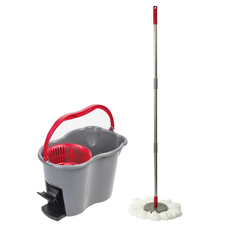 Набор для уборки LAIMA, ведро 14 л/7 л с отжимом и педалью, швабра с круглой насадкой (2 шт., кольцо), 603622
