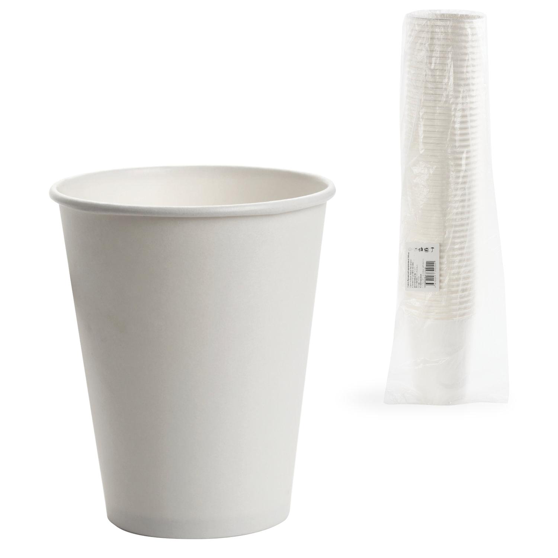 Одноразовые стаканы 300 мл, КОМПЛЕКТ 50 шт., бумажные однослойные, белые, холодное/горячее, ФОРМАЦИЯ