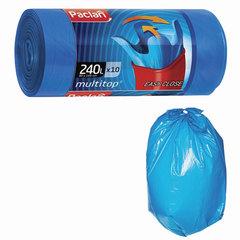 "Мешки для мусора 240 л, с ушками, синие, рулон 10 шт., ПВД, 40 мкм, 90х145 см, PACLAN ""Multitop"""