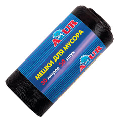 Мешки для мусора 30 л, черные, в рулоне 50 шт., ПНД, 6 мкм, 50х50 см, YORK AZUR, 901760