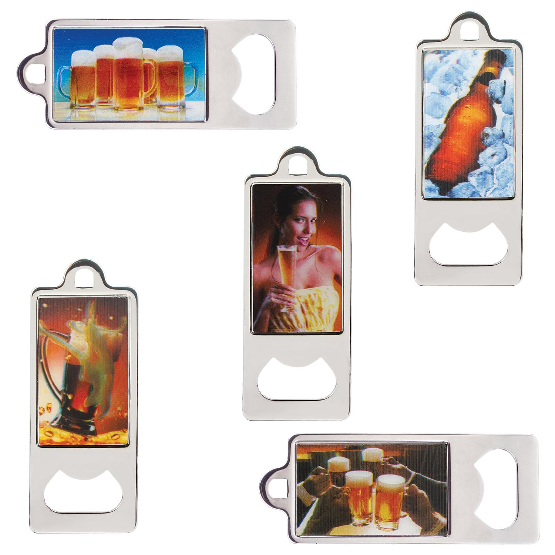 """Открывалка металлическая BRAUBERG, 36х96 мм, объёмное 3D-изображение, """"Напитки"""", ассорти (5 видов), 604203"""