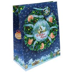 """Пакет подарочный ламинированный, 17,8х22,9х9,8 см, """"Новогодний венок"""", 140 г/м2"""