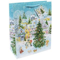 """Пакет подарочный ламинированный, 17,8х22,9х9,8 см, """"Новогодняя площадь"""", 140 г/м2"""