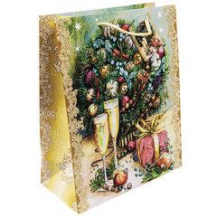 """Пакет подарочный ламинированный, 17,8х22,9х9,8 см, """"Шампанское у елки"""", 140 г/м2"""