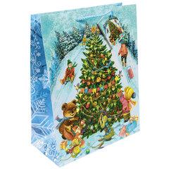 """Пакет подарочный ламинированный, 26х32,4х12,7 см, """"Новогодние гуляния"""", 140 г/м2"""