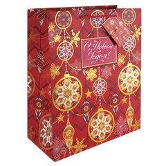 """Пакет подарочный ламинированный, 26х32,4х12,7 см, """"Золото на красном"""", ПЛОТНЫЙ, с тиснением, 250 г/м2"""