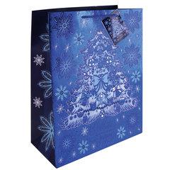 """Пакет подарочный ламинированный, 17,8х22,9х9,8 см, """"Елочка в голубом"""", с тиснением, ПЛОТНЫЙ, 250 г/м2"""
