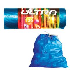 "Мешки для мусора 120 л, с завязками, синие, в рулоне 10 шт., ПВД, 30 мкм, 70х110 см, КОНЦЕПЦИЯ БЫТА ""Ultra"""