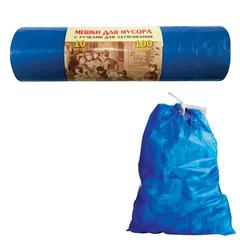Мешки для мусора 100 л, завязки, синие, в рулоне 10 шт., ПВД, 40 мкм, 84х67 см, КОНЦЕПЦИЯ БЫТА VITALUX