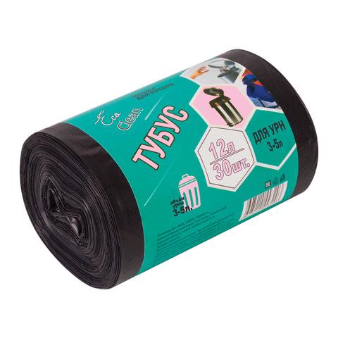"""Мешки для мусора 12 л, комплект 30 шт., ПНД, 32х55 см, 6 мкм, для урн d - 20 см, h - 26 см, черные, КБ """"Tubus"""""""