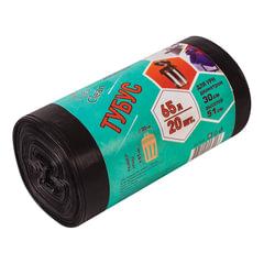 """Мешки для урн, черные, в рулоне 20 шт., 65 л 50х80 см, диаметр 30 см, высота 51 см, КБ """"Tubus"""""""