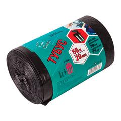 """Мешки для урн, черные, в рулоне 20 шт., 55 л 45х100 см, диаметр 28 см, высота 76 см, КБ """"Tubus"""""""