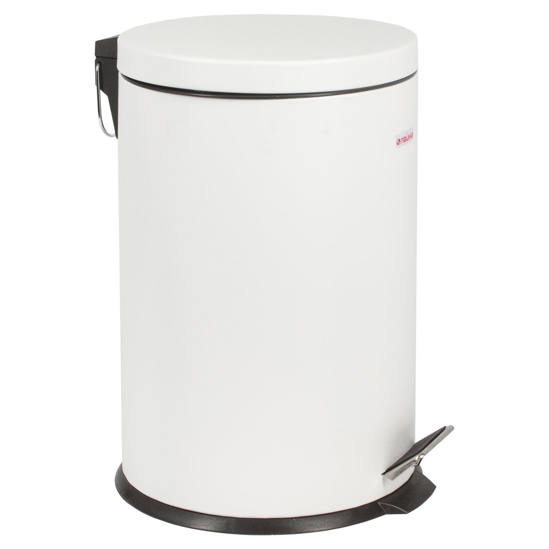 """Ведро-контейнер для мусора (урна) с педалью LAIMA """"Classic"""", 20 л, белое, глянцевое, металл, со съемным внутренним ведром, 604949"""