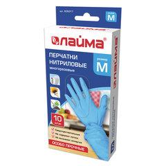 Перчатки нитриловые многоразовые особо прочные, 5 пар (10 шт.), M (средний), голубые, ЛАЙМА