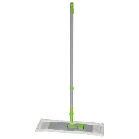 Швабра с флаундером 40 см, телескопический черенок 120 см, резьба 1,6 см, микрофибра (тип К), ЛЮБАША
