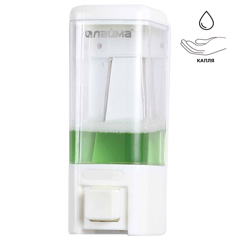Диспенсер для жидкого мыла LAIMA, НАЛИВНОЙ, 0,48 л, белый, ABS пластик, 605052