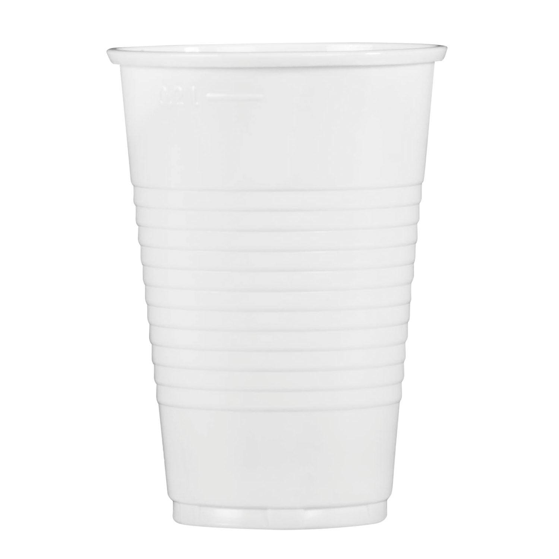 Одноразовые стаканы 200 мл, КОМПЛЕКТ 100 шт., пластиковые, белые, ПП, холодное/горячее, СТИРОЛПЛАСТ