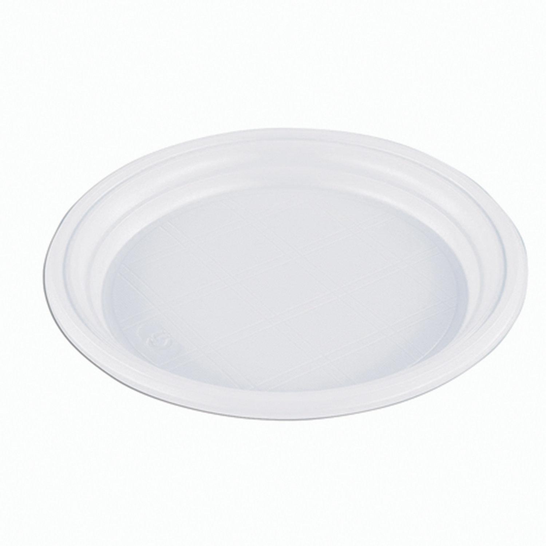 """Одноразовые тарелки плоские, КОМПЛЕКТ 100 шт, пластиковые, d=165 мм, """"ЭКОНОМ"""", белые, полистирол (ПС), холодное/горяч, СТИРОЛПЛАСТ"""