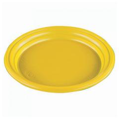 """Одноразовые тарелки плоские, КОМПЛЕКТ 100 шт, пластиковые, d=165 мм, """"ЭКОНОМ"""", ЖЕЛТЫЕ, полистирол(ПС), холодное/горяч, СТИРОЛПЛАСТ"""