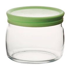 """Банка с крышкой для сыпучих продуктов, объем 420 мл, зеленая крышка, стекло, """"Cesni"""", PASABAHCE"""