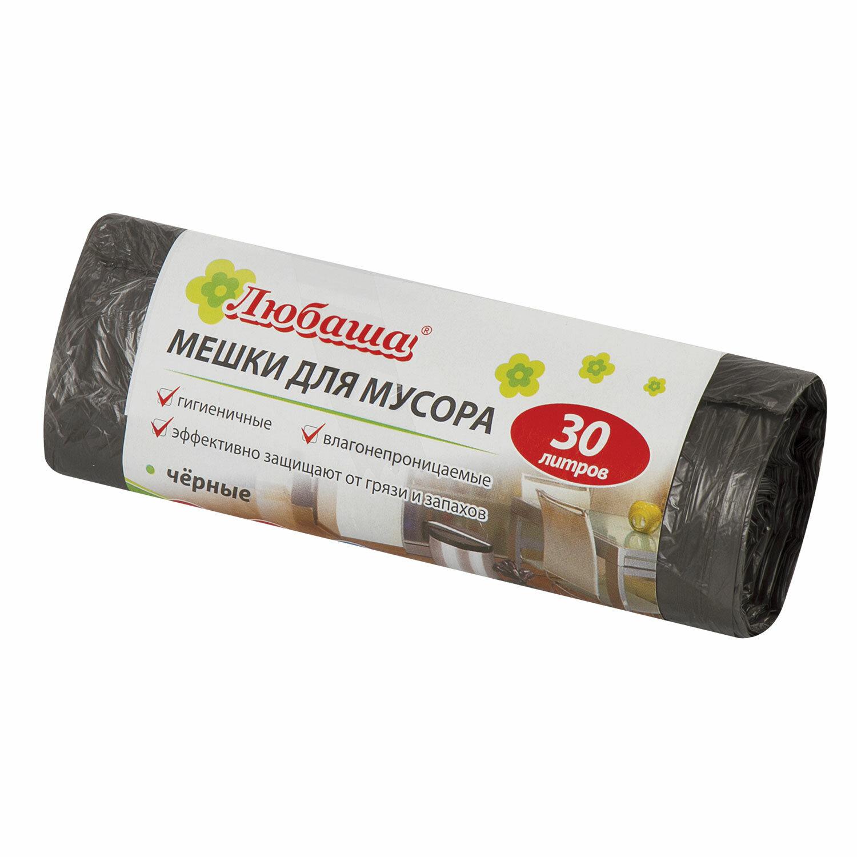 Мешки для мусора 30 л, черные, в рулоне 20 шт., ПНД 5 мкм, 47х55 см, ЛЮБАША эконом, 605329