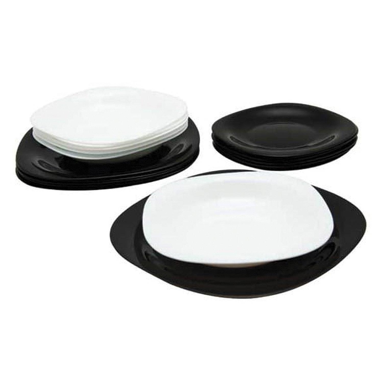 """Набор посуды столовый, 18 предметов, черное и белое стекло, """"Carine Mix"""", LUMINARC, N1489"""