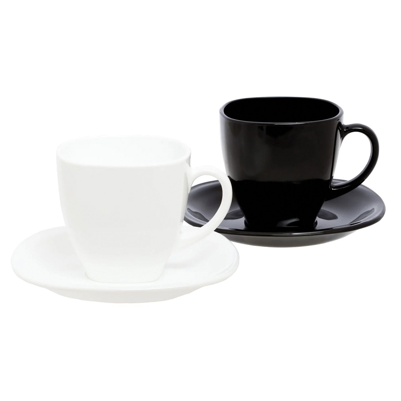 """Набор чайный на 6 персон, 3 черные и 3 белые чашки 220 мл, 3 черных и 3 белых блюдца, """"Carine Mix"""", LUMINARC, D2371"""