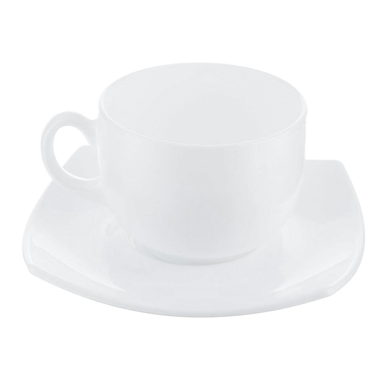 """Набор чайный на 6 персон, 6 чашек 220 мл и 6 блюдец, белое стекло, """"Quadrato white"""", LUMINARC, E8865"""