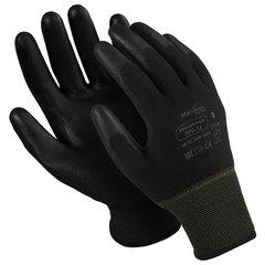"""Перчатки нейлоновые MANIPULA """"Микропол"""", полиуретановое покрытие (облив), размер 10 (XL), черные, TPU-12"""