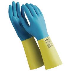 """Перчатки латексно-неопреновые MANIPULA """"Союз"""", хлопчатобумажное напыление, размер 7-7,5 (S), синие/желтые, LN-F-05"""
