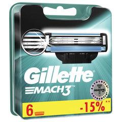 Сменные кассеты для бритья 6 шт. GILLETTE (Жиллет) Mach3, для мужчин