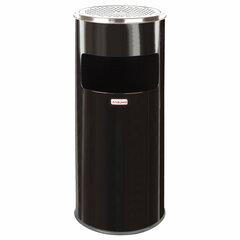 """Урна с пепельницей 27 литров, 600х250 мм, нержавеющая сталь, черная, ЛАЙМА """"Профессионал"""", 606300"""