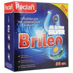 "Таблетки для мытья посуды в посудомоечных машинах 56 шт., PACLAN Brileo ""All in one Silver"""