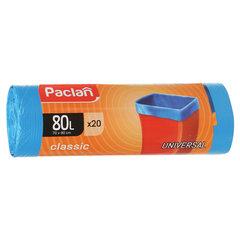 "Мешки для мусора 80 л, синие, в рулоне 20 шт., ПНД, 12 мкм, 70х90 см, PACLAN ""Classic"""