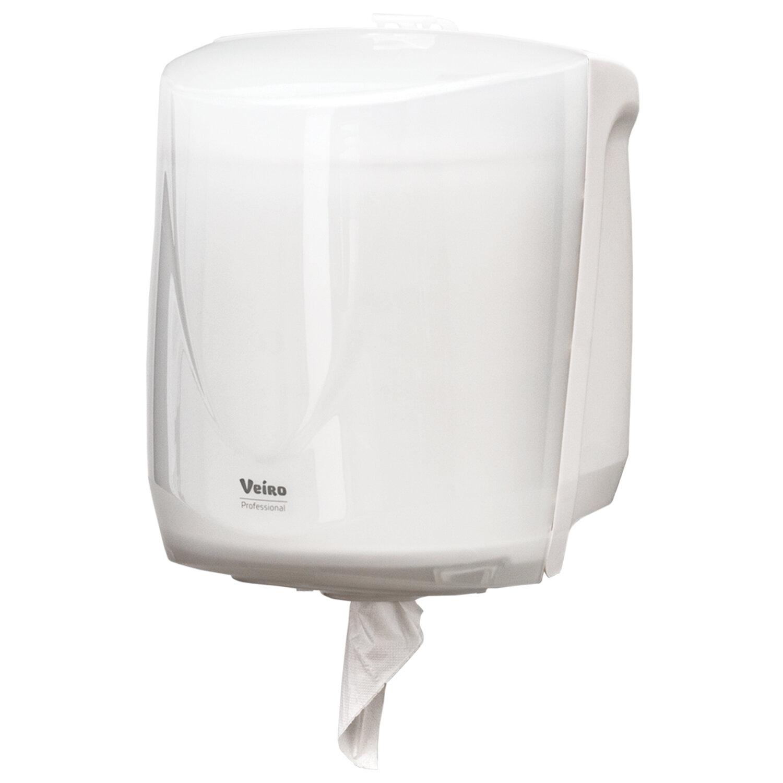"""Диспенсер для полотенец в рулоне с центральной вытяжкой VEIRO Professional (Система M1/M2) """"Easyroll"""", белый"""