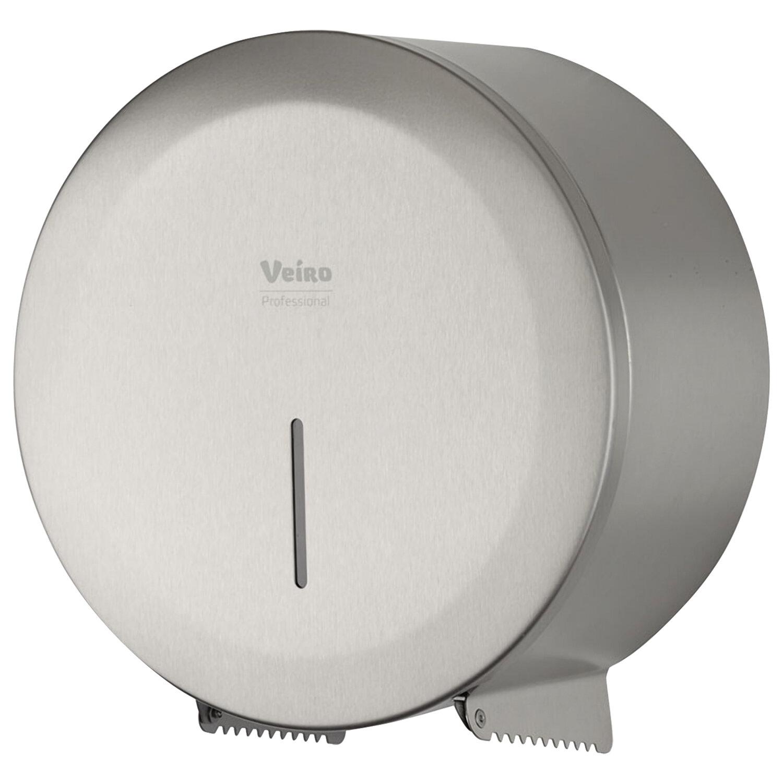 """Диспенсер для туалетной бумаги в рулонах VEIRO Prof (T1/T2) """"Jumbo STEEL"""", нержавеющая сталь, матовый"""