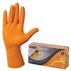 Перчатки одноразовые нитриловые с удлиненной манжетой, КОМПЛЕКТ 25 пар, размер L, оранжевые, E-DUO