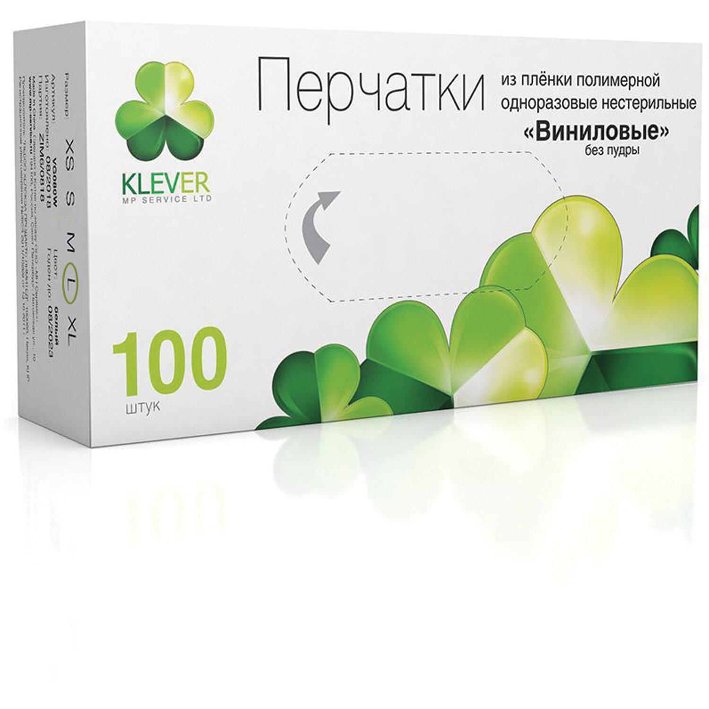 Перчатки виниловые КОМПЛЕКТ 50 пар (100 шт.) неопудренные, размер L, белые, KLEVER