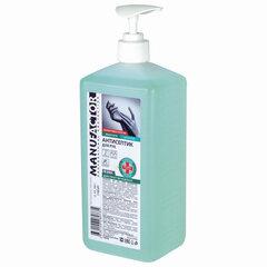 Антисептик для рук спиртосодержащий (спирт 66%-70%) с дозатором 1 л MANUFACTOR, дезинфицирующий, жидкость