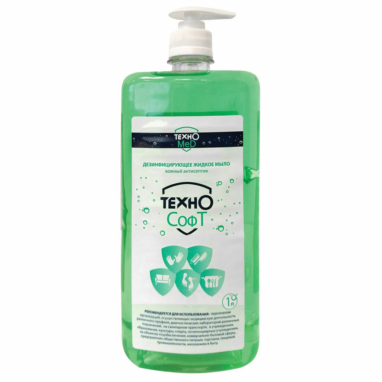 Мыло жидкое дезинфицирующее 1 л ТЕХНОСОФТ, дозатор