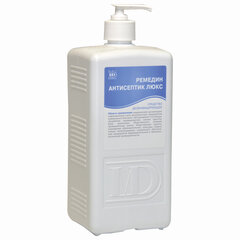 Антисептик для рук и поверхностей спиртосодержащий (63%) с дозатором 1л РЕМЕДИН ЛЮКС, дезинфицирующий, жидкость