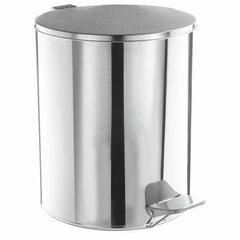Ведро для мусора с педалью, УСИЛЕННОЕ, ТИТАН, 7 литров, кольцо под мешок, нержавеющая сталь, хром