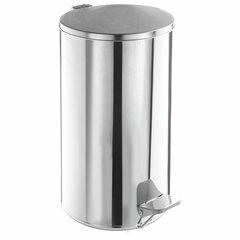 Урна для мусора с педалью, УСИЛЕННОЕ, ТИТАН, 40 литров, кольцо под мешок, нержавеющая сталь, хром