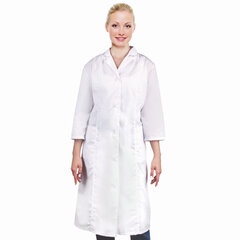 Халат медицинский женский белый, рукав 3/4, тиси, размер 48-50, рост 170-176, плотность ткани 120 г/м2, 610754