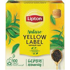"""Чай LIPTON (Липтон) """"Yellow Label"""", черный, 100 пакетиков с ярлычками по 2 г"""